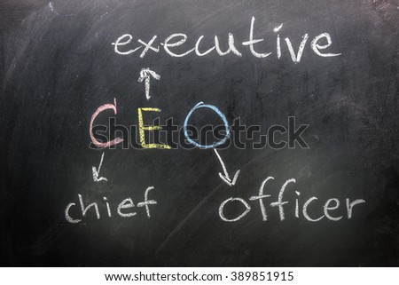 CEO on blackboard