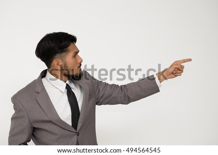 CEO or Businessman finger pointing target on white background.