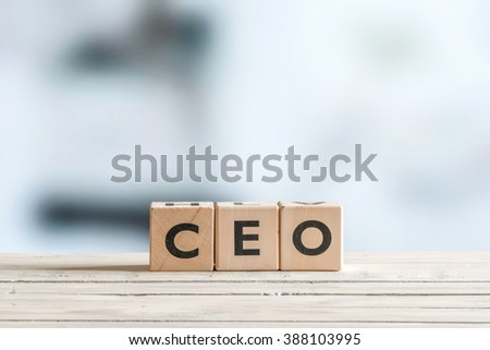 CEO title on a wooden sign made of cubes