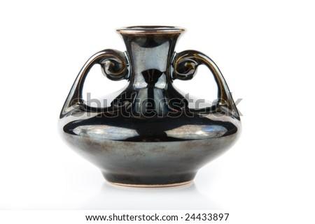 Ceramic amphora over white background - stock photo