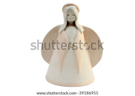 Ceramic angel isolated  on white background
