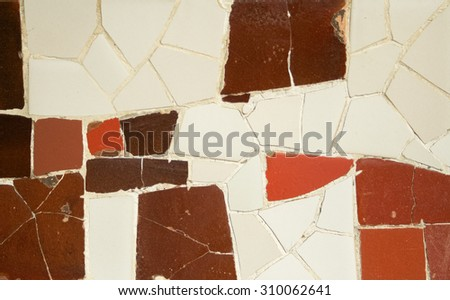 Ceramic art in Park Guell in Barcelona, Spain - stock photo
