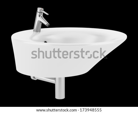ceramic bathroom sink isolated on black background