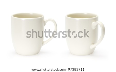 Ceramic biege coffee cup isolated on white. Merged two shot. - stock photo