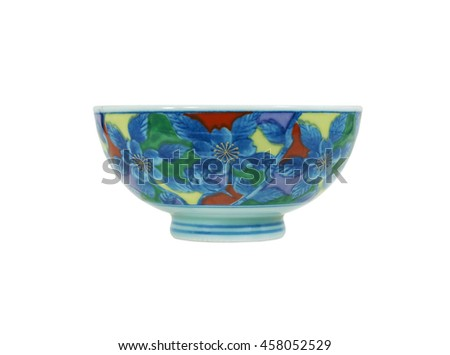 ceramic bowl japanese style vintage pattern isolate on white background