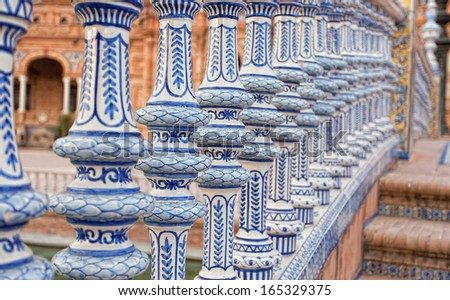 Ceramic bridge in Plaza de Espana in Seville, Andalusia, Spain - stock photo