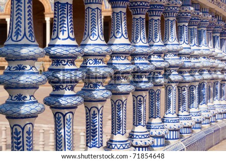 Ceramic Bridge inside Plaza de Espana in Seville, Spain. - stock photo