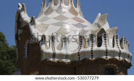 Ceramic building roof elements in Park Guell, Barcelona, Spain, July 2016