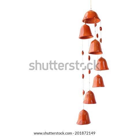 Ceramic clay bells mobile isolated on the white background - stock photo