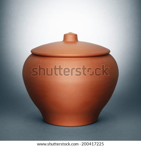 ceramic clay pot - stock photo
