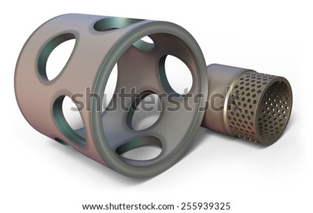 Ceramic components isolated on white - stock photo