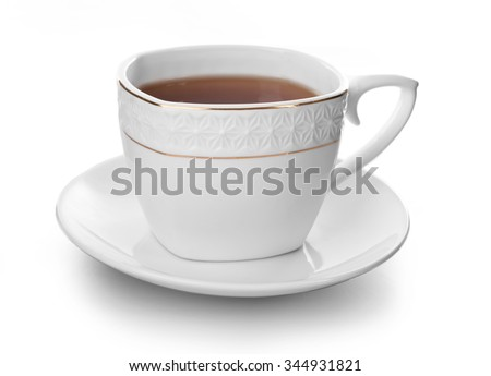 Ceramic cup of tea isolated on white background - stock photo