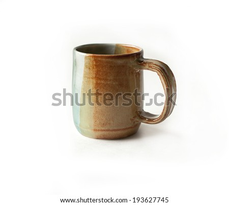 Ceramic cup on a white background for tea, coffee etc. - stock photo