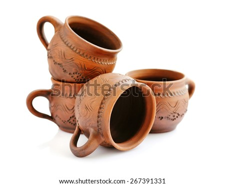Ceramic cups on a white background - stock photo