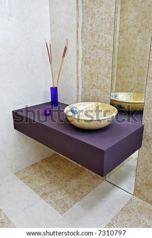 ceramic elements in a beautiful bathroom - stock photo