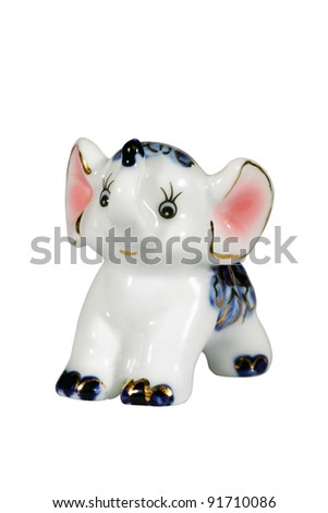 Ceramic elephant figurine isolated over white with clipping path. - stock photo