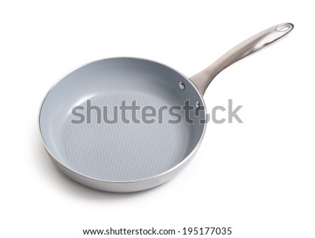 Ceramic frying pan isolated on white background - stock photo
