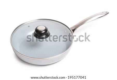 Ceramic frying pan isolated on white background - stock photo