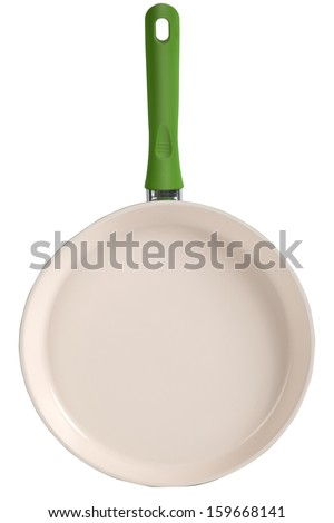 Ceramic Frying Pan. Isolated with clipping path - stock photo