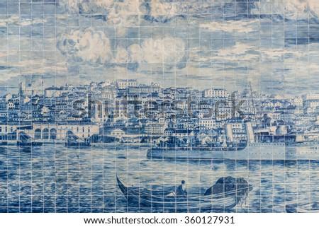 Ceramic glazed tiles, called Azulejos, presenting a historic view of Lisbon.  Lisbon, Portugal - stock photo