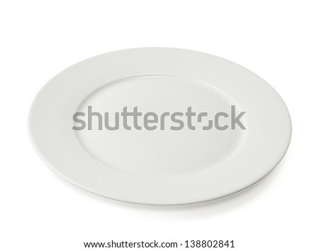 Ceramic glossy plate isolated over white background - stock photo