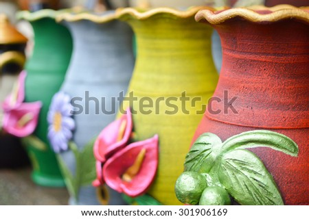 Ceramic handycrafts sold in the shops along the main road of San Juan Oriente in the highlands between Granada and Masaya, Nicaragua. Shallow depth of field - stock photo