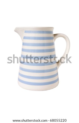 ceramic jug isolated on white background - stock photo