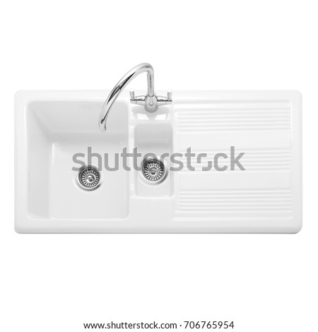 Ceramic Kitchen Sink Isolated On White Background. White Double Bowl Inset  Sink. Kitchen Sink