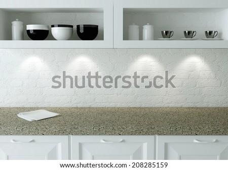 Ceramic kitchenware on the shelf. Marble worktop. White kitchen design. - stock photo