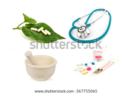 ceramic mortar,stethoscope,pill ,herb and syringe isolated on white background,abstract background for alternative medical or medical concept. - stock photo