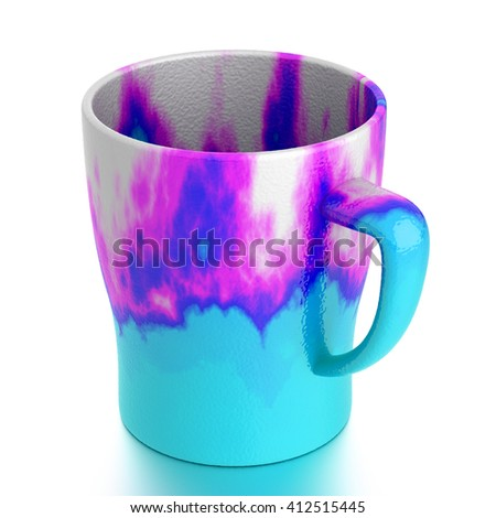 Ceramic mug isolated on white. Include clipping path. 3D illustration