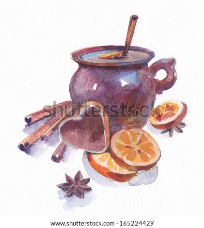 Ceramic mug with mulled wine, orange and spices - stock photo