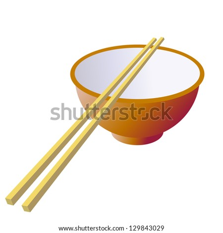 Ceramic mug with wooden sticks.  illustration.