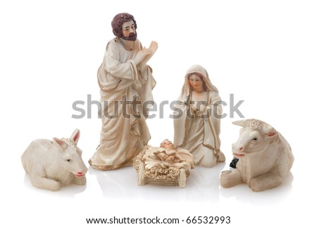Ceramic nativity scene isolated on white background. - stock photo