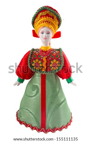 ceramic old doll in national Russian clothes  - stock photo