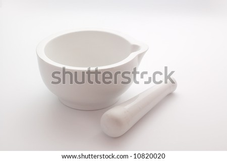 Ceramic Pestle and Mortar isolated on white