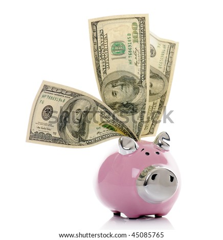 ceramic piggy bank with dollars