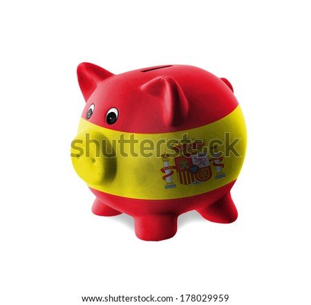 Ceramic piggy bank with painting of national flag, Spain - stock photo
