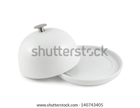 Ceramic plate cover on the empty copyspace dish isolated over white background - stock photo