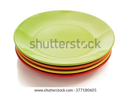 ceramic plate isolated on white background - stock photo