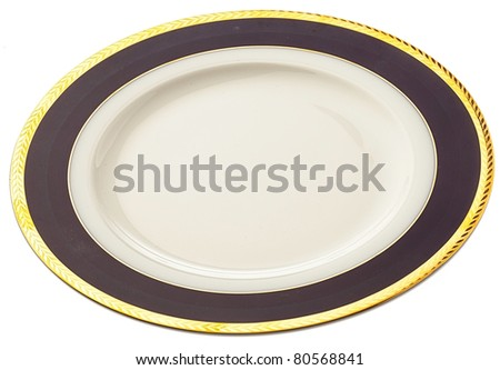 ceramic plate on a white surface - stock photo