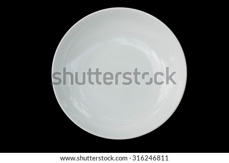 ceramic plate on black background