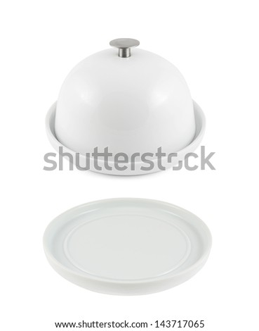 Ceramic plate with and without cover isolated over white background - stock photo