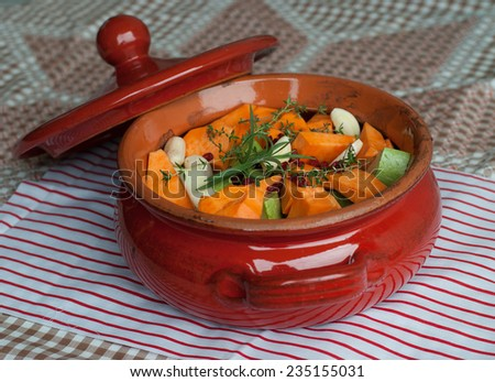 Ceramic Pot Full with Vegetables for Stew, selected focus - stock photo