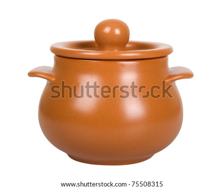 Ceramic pot isolated on white background - stock photo