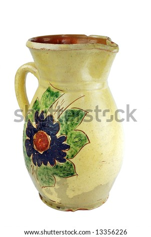 Ceramic pot with flower painting - stock photo