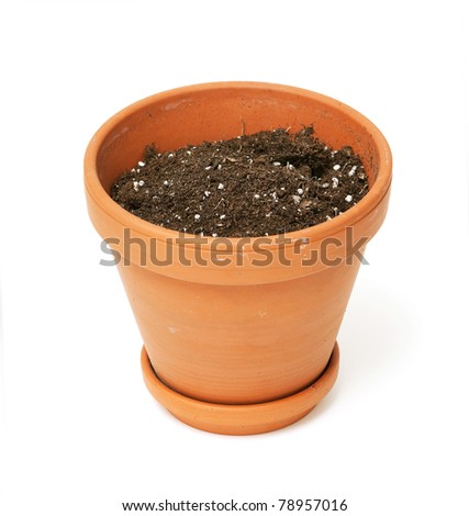ceramic pot with ground soil on white background - stock photo