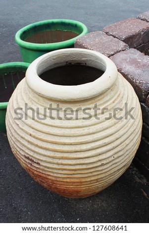 Ceramic pot with ridges - stock photo