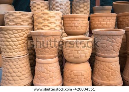 ceramic pots in mexico - stock photo