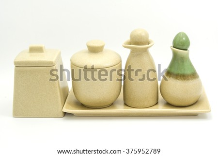 ceramic set for spa products on white background